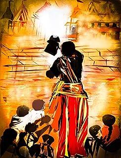 لوحة فنية جدارية مطبوعة على قماش مطبوع عليها Banaras Ghat (Ganga Aart) تحمل توقيع الفنان لغرف المعيشة وغرفة النوم وديكور ا...