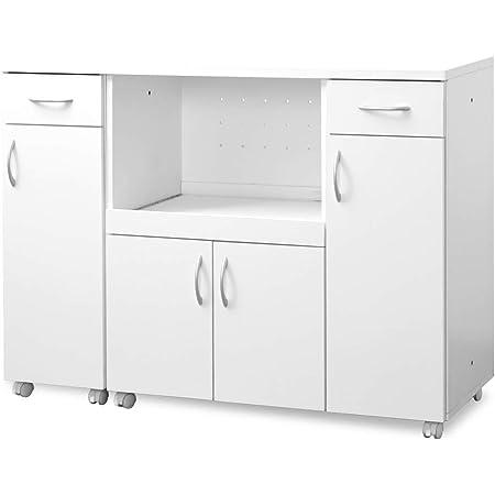 moca company KAKUSERU キッチンカウンター レンジ台 食器棚 キャスター付き コンセント付き 幅120 (幅30 + 幅90 セット) ホワイト MC-FR024SET-WH