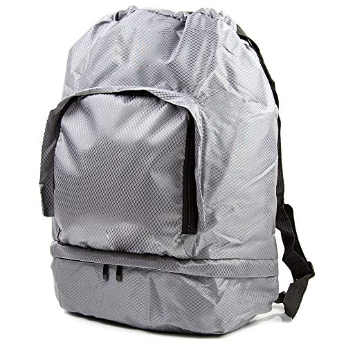 Toysery Foldable Camping Bag for Men and Women, Best Quality Large Duffel Sports Tote Bag, Camping Weekender Bag with Shoulder Straps, Durable Mens Backpack For Gym, Yoga, Vacation, Storage - Grey
