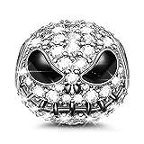 Gnoce'Cráneo Jack' Abalorio Charms De Mujer De Ley 925 Plata Esterlina Abalorios Con Cubic Zirconia para Halloween Compatible con Pulsera o collar