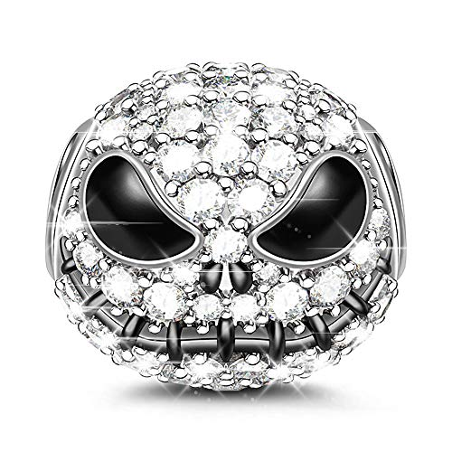 GNOCE Little Monster Black Charms 925 Sterling Silver Beads Charms with Cubic Zirconia for Bracelets & Necklaces (Silver)