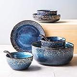 Set di stoviglie in ceramica, set di 33 piatti in porcellana con smalto blu stellato, set di piatti e ciotole per riunioni di famiglia e regali di nozze