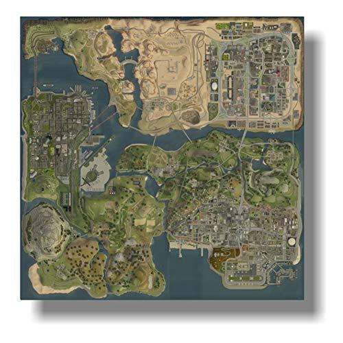 dubdubd Poster An Der Wand GTA 5 Hd Topografische Karte Grand Theft Auto V Strategische Karte Wandbilder Für Die Inneneinrichtung -24X24 In No Frame