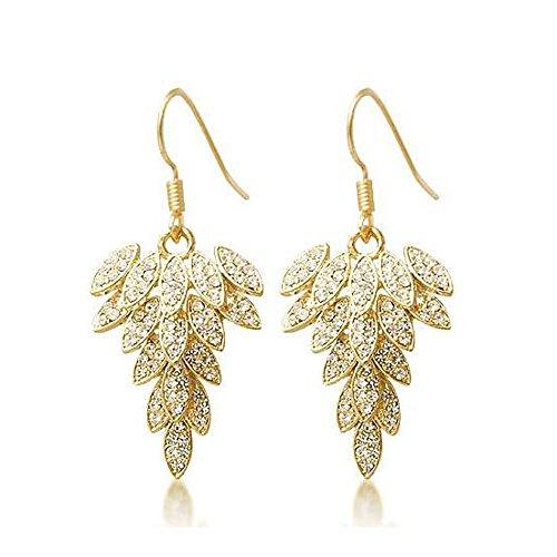 Lily Jewelry - Orecchini a goccia da donna, placcati in oro, luccicanti, a forma di piuma, con elementi in cristallo Swarovski