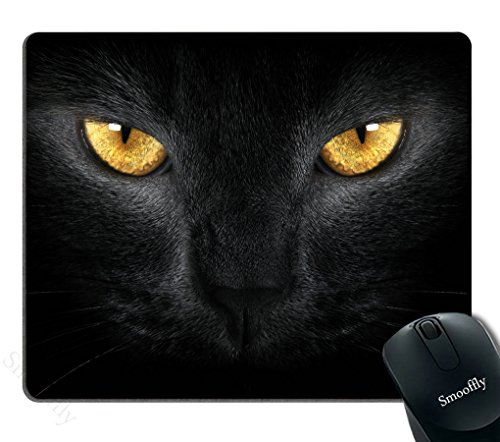 Smooffly Gaming Mouse Pad Oblong Shaped Black Cat Eyes Mouse Mat Design Natural Eco Rubber Durable Computer Desk Stationery Accessories Mouse Pads