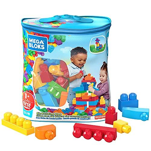 Mega- Sacca Ecologica Blocchi da Costruzione, Giocattolo per Bambini 1+ Anni, Multicolore, 60 Pezzi, DCH55