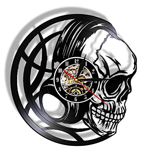 Wangzhongjie 3D Watches Black Skull Head Wall Clock With Led Backlight Evil Skull Headphones 3D Lighted Sign Halloween Decorative