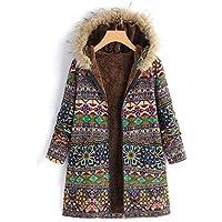MEIbax Abrigos Mujer Invierno Womens Winter Warm Outwear con Estampado Floral Bolsillos con Capucha Abrigos de Gran tamaño de la Vendimia