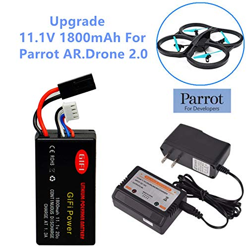 GiFi Power Upgrade 11.1V 1800mAh Li-Po Battery Replacement Battery for Parrot AR Drone 2.0 Battery with Balance Charger