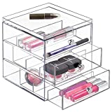 InterDesign Clarity Organizzatore 3 Cassetti, Impilabili Sole, Occhiali da Vista, 16.5x18x18 cm