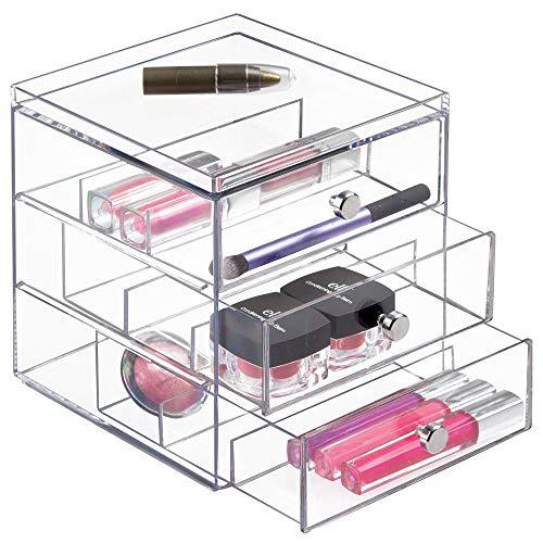 iDesign Clarity Stapelbarer Organizer mit 3 Schubladen für Lesebrillen, Brillen, Sonnenbrillen, 1 Stück, Durchsichtig