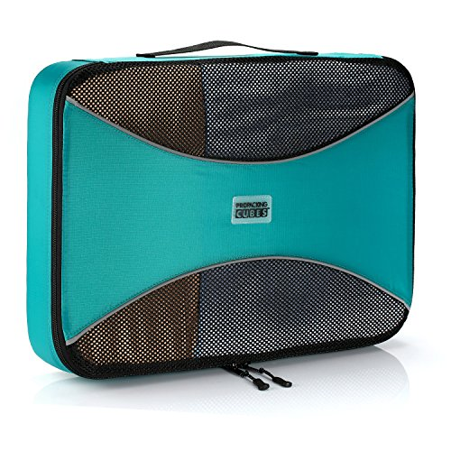 PRO Packing Cube for Travel | 1 Large Luggage Organiser Bag | Premium Quality Ultralight Travel Cube for Packing Suitcase, Carry-on, Bags and Backpack - Aqua Blue