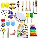Rabing ensemble d'instruments de musique pour enfants, ensemble de musique, 27 types d'instruments de musique en bois pour enfants / bébés, instruments éducatifs de rythme et de musique (avec sac)