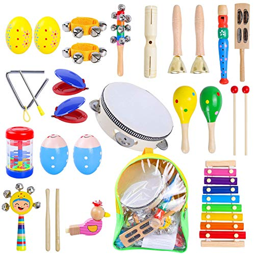 Rabing Baby Musical Instruments, 15 Types 25 PCS Wooden Musical Toys Set Early Education Toys with Xylophone, Tambourine, Hand Bell Percussion Instruments Toy for Boys and Girls with Storage Backpack