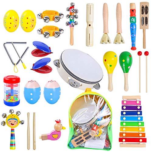Rabing Juego de instrumentos musicales para niños, juguetes musicales, xilófono de pandereta, juego de juguetes de madera