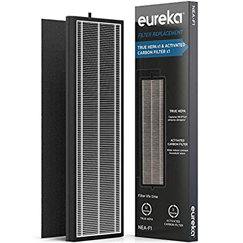 Eureka F1 Air Purifier NEA-C1, Activated Carbon Filter x 4, Replacement for InstantClear NEA120, HEPA, black