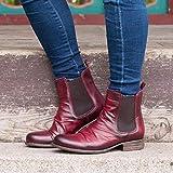 Botines Mujer Planos Tacon Botas Martin Vintage PU Cuero Botas Slip-on Chelsea Botas Comodo Cabeza Redonda Botas de Invierno Tamaño Grande 36-43,Wine Red,41