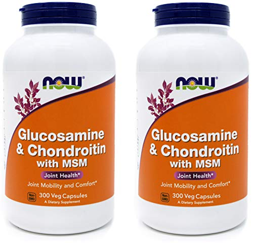 Now Glucosamine & Chondroitin with MSM, 300 Capsules (Pack of 2) Joint Health Supplement