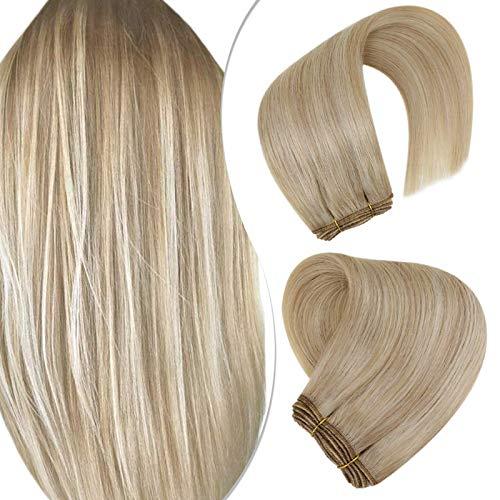 Hetto Haartressen Echthaar Clips Greade Remy Double Weft Menschliches Extensions Dunkle Aschblondine Hervorgehoben mit Bleichblond 18 Zoll 100G/Bundle