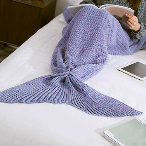 Weich Mermaid Schwanz Decke handgemachte gestrickte Schlafsack for Home TV Schlafsofa Mermaid Schwanz Decke sute for Kinder Adult Baby Hauptschlafzimmer ( Color : Dreamy purple , Size : 70x140cm )
