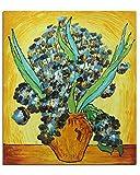 Fokenzary Pintura al óleo pintada a mano sobre lienzo Vincent Van Gogh clásica lirios reproducción decoración de pared enmarcado listo para colgar (20 x 24 pulgadas)