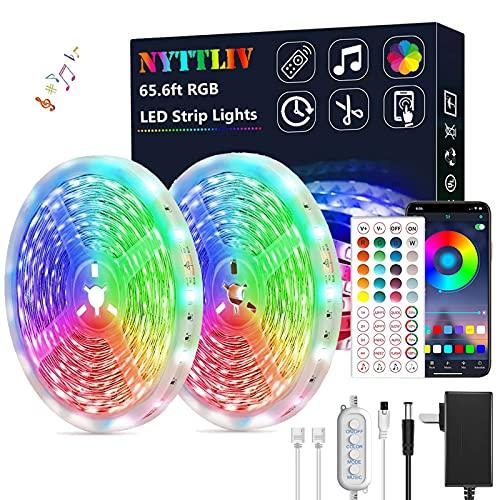 Led Lights for Bedroom, Led Strip Lights 65.6ft Led Lights Music Sync RGB Rope Lights Smart App...