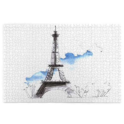 Airmark Rompecabezas de 1000 Piezas,Rompecabezas de imágenes,Francia París Urban Sketch Torre Eiffel,Juguetes Puzzle for Adultos niños Interesante Juego Juguete Decoración para El Hogar
