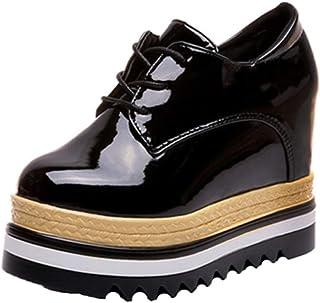 Scarpe con Zeppa Alta da Donna Scarpe con Zeppa Autunnali Primavera Scarpe Casual Stringate con Tacco 9CM Sneakers da Ginn...