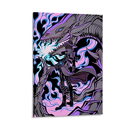 Anime-Duel Monsters, Seto Kaiba & Blauaugen weißer Drache, Dekoration auf Leinwand, Kunstdruck & Wandkunstdruck, modernes Familienschlafzimmer, 60 x 90 cm