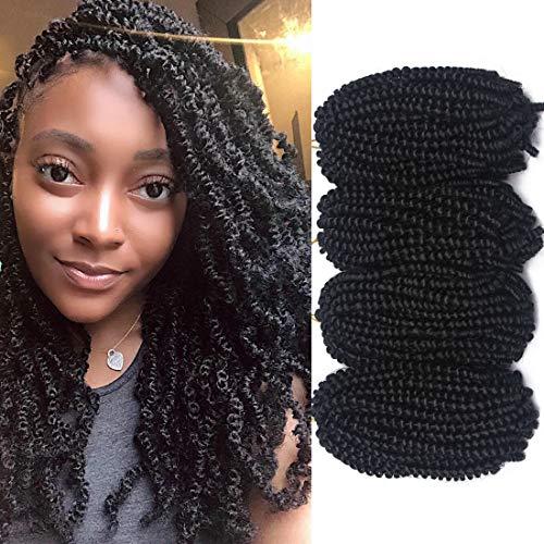 4 Packs Spring Twist Braiding Hair Crochet Hair Braids Bomb Spring Twist Crochet Hair Ombre Mix Colors Fluffy Twist Hair Jamaican Bounce 8 Inch 110G Synthetic Hair Extensions(1B#)