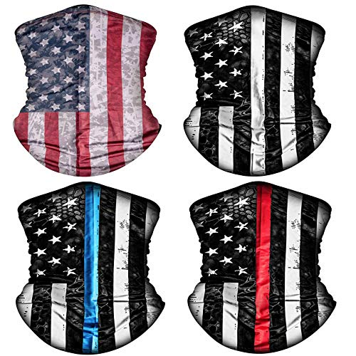 4 Pack American US Flag Face Bandana Balaclava for Men Women, Sun UV Dust Protection Reusable Washable Half Mask Scarf, Cooling Cloth Neck Gaiter Headwear for Cycling, Hiking, Fishing, Motorcycle-5