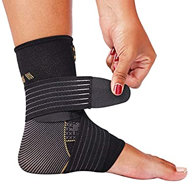 CopperJoint Ankle Support - Ankle Compression Brace - Adjustable Ankle Sleeve Wrap for Women & Men - Copper Infused to Alleviate Achilles Tendon Pain, Sprain, Sports Injury - Healing Stabilizer (Medium)