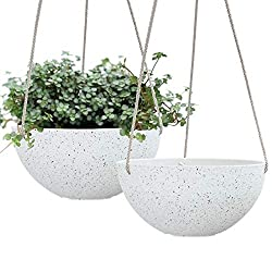 White glitter hanging baskets