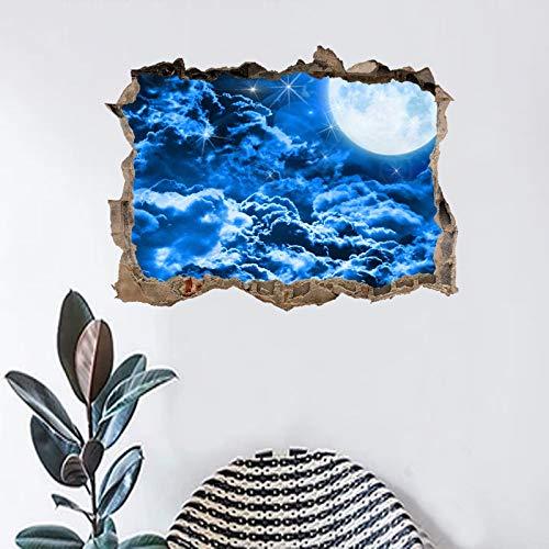 3D Star Universe Series Gebrochene Kunst Aufkleber Blau Sternenhimmel Wolken Kinderzimmer Wohnzimmer Dekor Raum Galaxie Planeten PVC Wandaufkleber Wandbild Poster