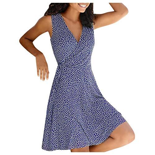Damen Kleider Tunika Tshirt Kleid Sexy Tiefes V Kleid für Ärmelloses Tupfendruck Kreuzkleid mit V-Ausschnitt MiniKleid Sommerkleid Brautkleid Lose Casual Swing Kleid Cocktailkleid(Blau,L3)