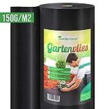 GardenGloss® 50m² Premium Unkrautvlies 150g/m² Extra Stark - Gartenvlies gegen Unkraut – Unkrautfolie Wasserdurchlässig – Reißfestes Unkrautflies – Hohe UV-Stabilisierung (50m x 1m, 1 Rolle)