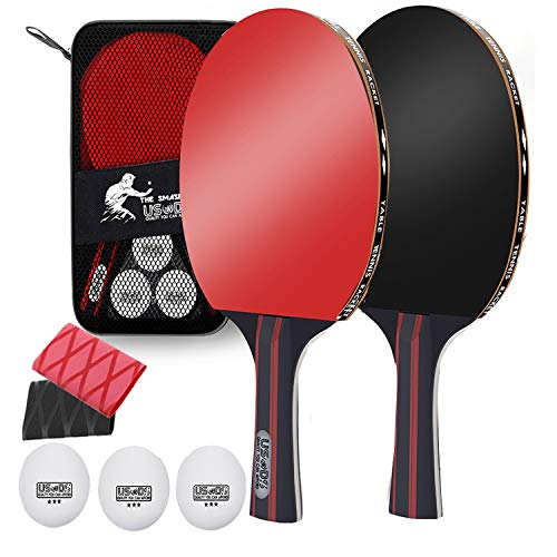 Great Features Of Quality Ping Pong Paddle Set, Pack of 2 table tennis paddles and 3 Table Tennis Ba...