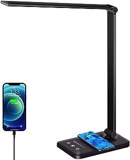 ZGNB Lámpara Escritorio Flexo Escritorio LED con Carga inalámbrica Lámpara Escritorio LED Cuidado Ojos Puerto de Carga USB...