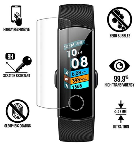 Tuta temperd Anti Scratch Curved 9H Full Edge to Edge Anti- Bubble Clear HD Tempered Glass Screen Protector for Honor Band 4 Running