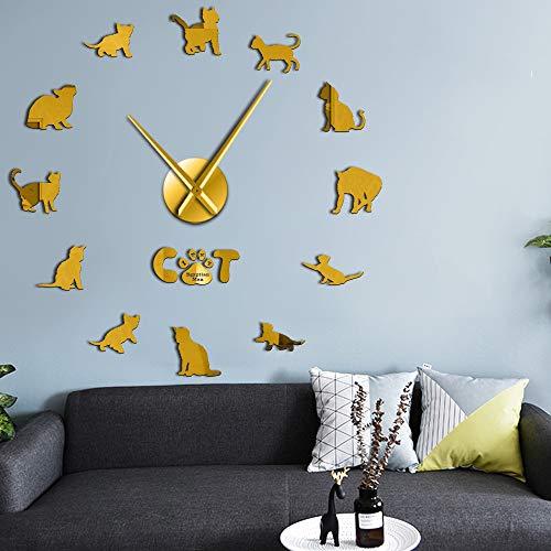 RRBOI Domestiqué Mau Cat Contemporain DIY Horloge Murale Chaton Race Animal Mirror Surface Acrylique Horloge Pet Shop Décor (Golden)-27inch