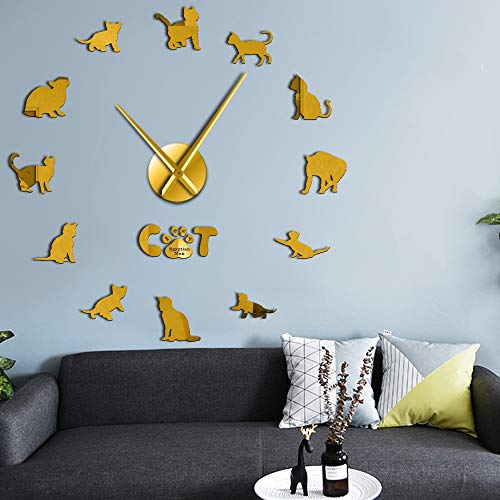 RRBOI Domestiqué Mau Cat Contemporain DIY Horloge Murale Chaton Race Animal Mirror Surface Acrylique Horloge Pet Shop Décor (Golden)-27inch