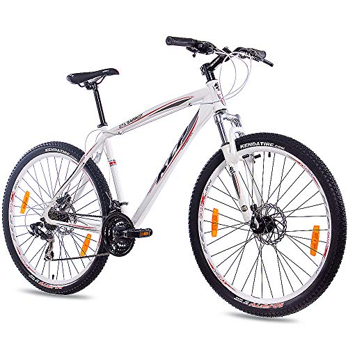 KCP 27,5 Zoll Mountainbike Fahrrad - GARRIOT Weiss 53 cm - Mountain Bike mit Gabel-Federung für Herren und Jungen, MTB Hardtail mit 21 Gang Shimano Schaltung und Scheibenbremsen vorne und hinten