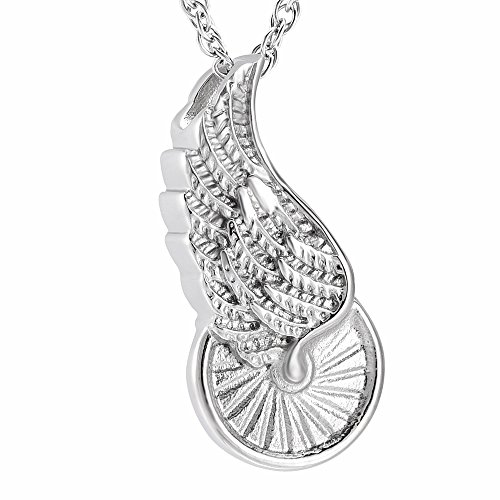 Cremation Necklace for Ashes Stainless Steel Angel Wing Wheel Locket Ash Keepsake Memorial Jewelry for Ashes Pendant -Cremation Necklace for Women Man