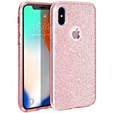 Coovertify Funda Purpurina Brillante Rosa iPhone X/XS, Carcasa Resistente de Gel Silicona con Brillo Rosa para Apple iPhone X/XS (5,8')