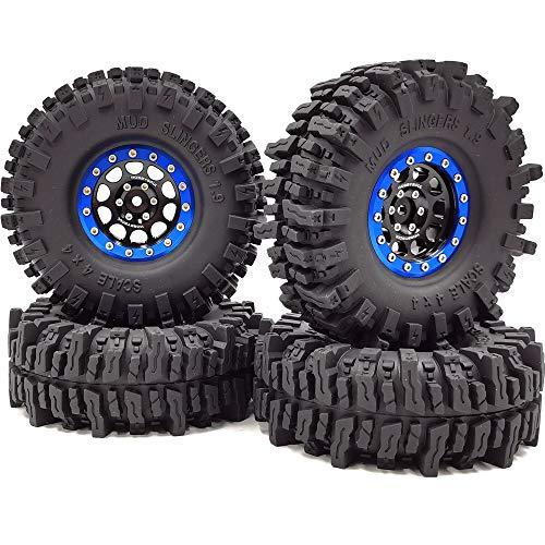 Juego de 4 neumáticos RC 1.9 con ruedas de agarre super, altura de 120 mm y aleación de aluminio de 1,9 con borde hexagonal de 12 mm, color azul/negro