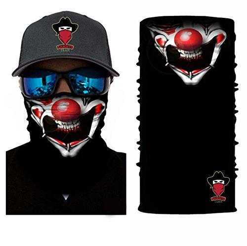 Bandits Team - Bandana mit Motiv Clown - Schlauchschal aus Mikrofaser- fürs Motorrad-, Fahrrad-, Skifahren oder Angeln I Bedrucktes Multifunktionstuch 1 Stück