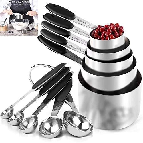 FTUNG Messlöffelsets Edelstahl Messbecher und Löffel 5 Measuring Cups 5 Messlöffel mit Clip, mit Silikon Griff für Küche Kochen Backen 10er-Set (schwarz)