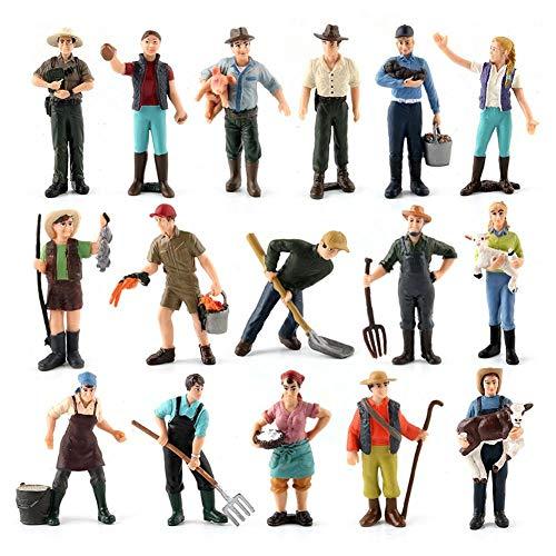 Zerodis 16pcs Figuras de Granja, Figuras de Granjero en Miniatura Juego de Juguete de Granja de Figura de Granja para Regalo de niños