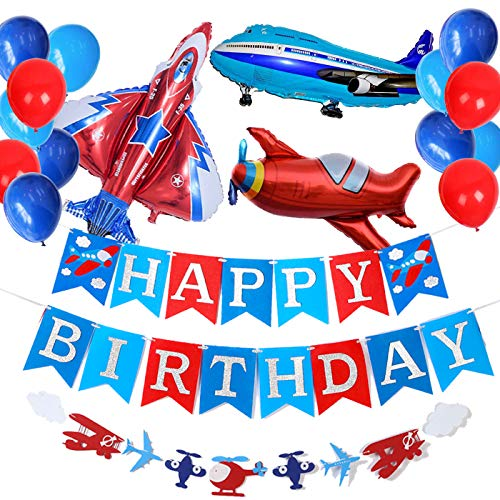 Airplane Aviator Themed Party Supplies,Silver Glitter Birthday Banner and Garland Decoration,Latex and Airplane Foil Balloons for Up Up and Away Felt Party, Kids Plane Theme Birthday Party.