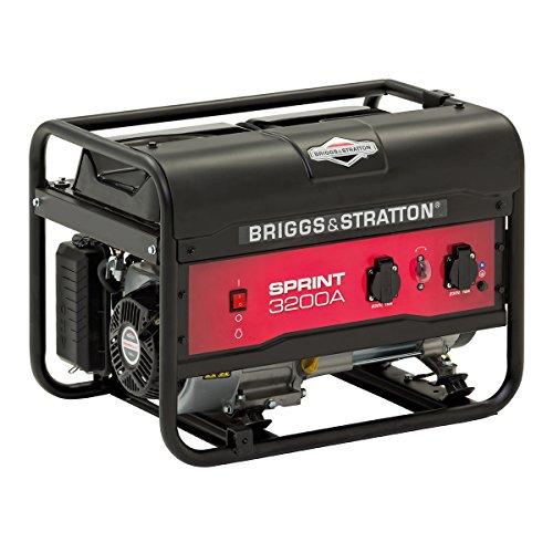 Briggs and Stratton SPRINT 3200A generador portátil de gasolina - Potencia en marcha de 2500/Potencia inicial de 3125, 030672A, 2500 W, Negro
